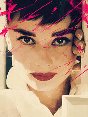 Vintage Digital Art - Audrey Hepburn by Afterdarkness