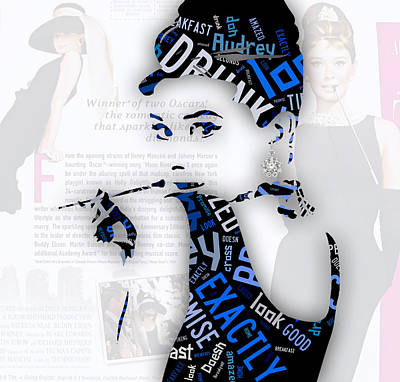 Audrey Hepburn Mixed Media - Audrey Hepburn Breakfast At Tiffany's Quotes by Marvin Blaine