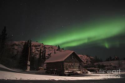Yellowknife Photograph - Aurora Borealis Over A Cabin, Northwest by Jiri Hermann