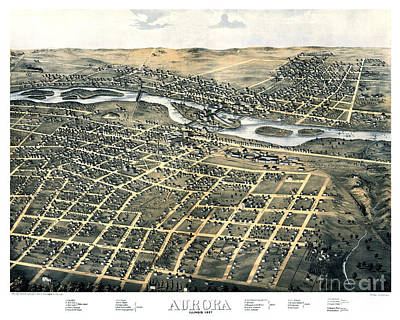 Vintage Map Painting - Aurora - Illinois - 1867 by Pablo Romero