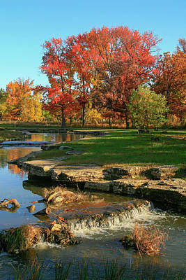 Autumn At The Deer Lake Creek Riffles In Forest Park St Louis Missouri Print by Garry McMichael