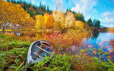 Canoe Mixed Media - Autumn Comes To The Lake by Garland Johnson