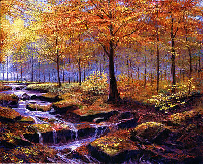 Autumn In Goldstream Park Print by David Lloyd Glover