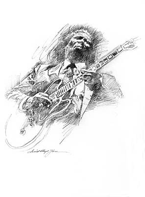 Guitar Drawing - B B King And Lucille by David Lloyd Glover