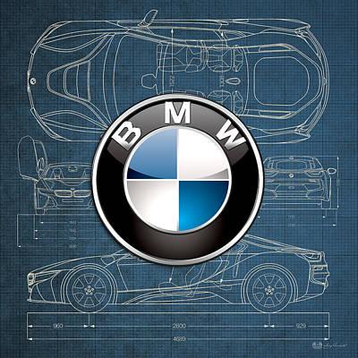 Transportation Photograph - B M W 3 D Badge Over B M W I8 Blueprint  by Serge Averbukh