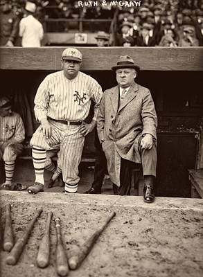 Babe Ruth Vintage Photograph - Babe Ruth And John Mcgraw by Mountain Dreams