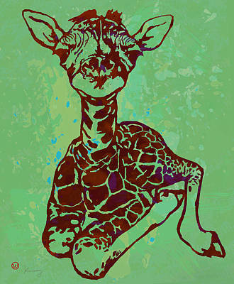 Giraffe Drawing - Baby Giraffe - Pop Modern Etching Art Poster by Kim Wang