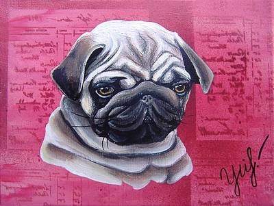 Fawn Pug Painting - Baby Pug by Yanina Perkins