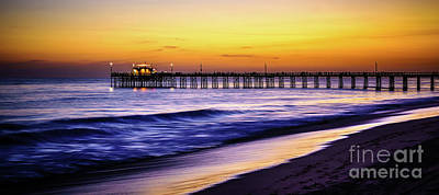 Balboa Pier At Sunset In Newport Beach California Print by Paul Velgos