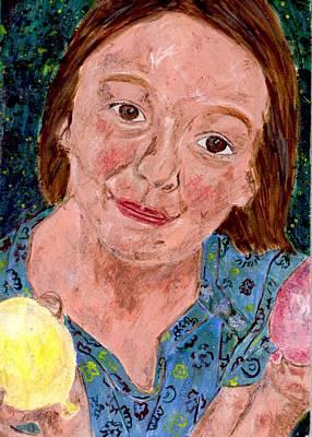 Egg Tempera Painting - Balloon Fight by Lizzie Joy Lukens