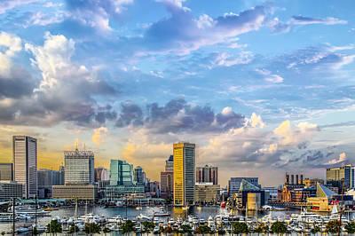 Md Digital Art - Baltimore Harbor Skyline by Susan Candelario