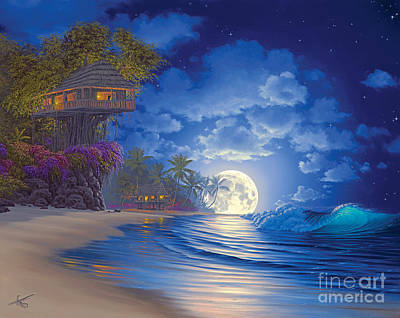Treehouse Painting - Banyan Moon by Al Hogue