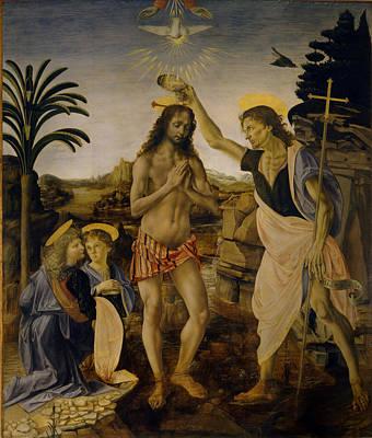 Baptism Painting - Baptism Of Christ  by Leonardo da Vinci