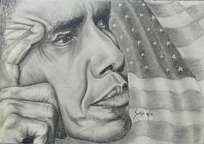 Barack Obama Drawing - Barack Obama by Stephen Sookoo