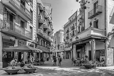Barcelona Digital Art - City Square - Barcelona  by Georgia Fowler