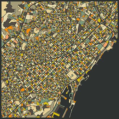 Barcelona Digital Art - Barcelona Map by Jazzberry Blue