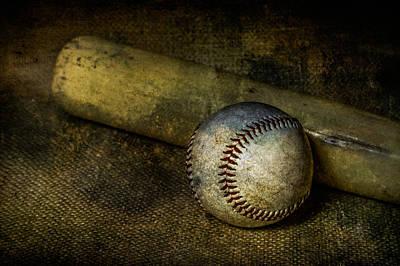 Baseball And Bat Print by Erin Cadigan