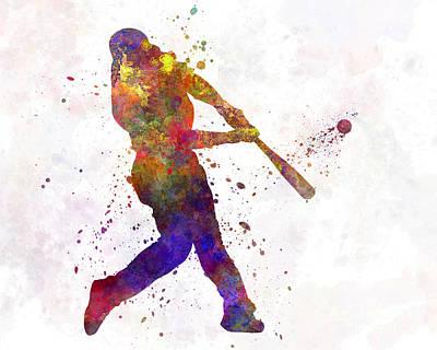 Baseball Painting - Baseball Player Hitting A Ball by Pablo Romero