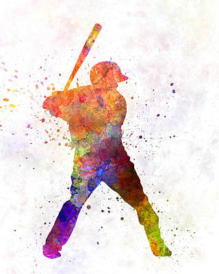 Baseball Player Waiting For A Ball Print by Pablo Romero