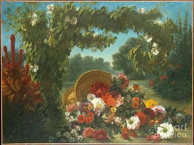 Cliff Painting - Basket Of Flowers by Celestial Images