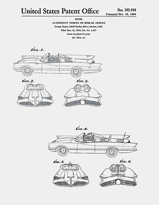 Car Photograph - Batmobile Car Patent 1966 by Claire  Doherty