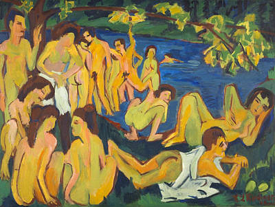 Nude Painting - Bathers At Moritzburg by Ernst Ludwig Kirchner