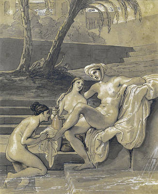 Bathsheba Drawing - Bathsheba At Her Bath by Francesco Hayez