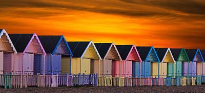Beach Huts Print by Martin Newman
