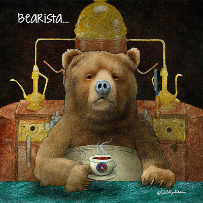Coffeehouse Painting - Bearista... by Will Bullas