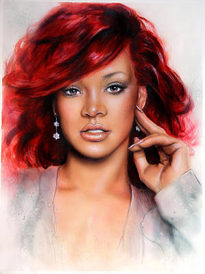 Rihanna Painting - beautiful airbrush portrait of RihanA beautiful airbrush portrait of Rihanna with red hair and a fac by Jozef Klopacka