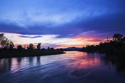 Beautiful Sunset Along Boise River Print by Vishwanath Bhat