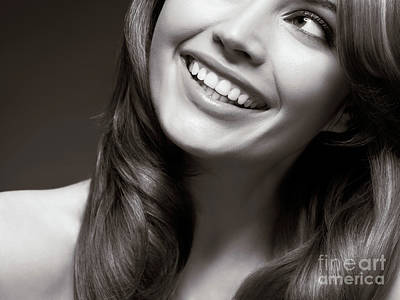 Beautiful Young Smiling Woman Print by Oleksiy Maksymenko