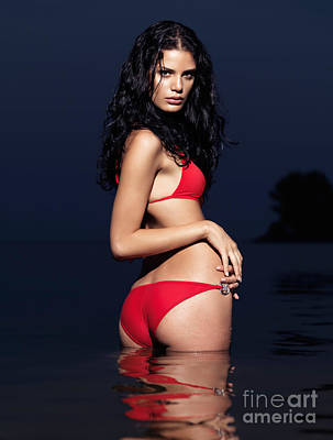 Beautiful Young Woman In Red Swimsuit Standing In Water Print by Oleksiy Maksymenko