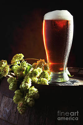 Froth Photograph - Beer And Hops On Barrel by Amanda Elwell