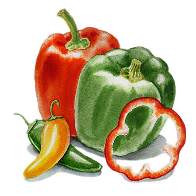Bellpeppers Painting - Bell Peppers Jalapeno by Irina Sztukowski