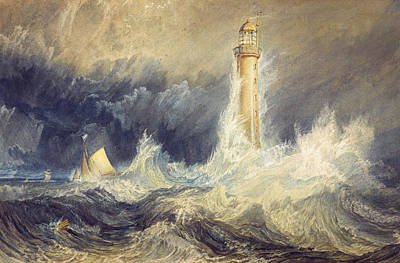 Lighthouse Painting - Bell Rock Lighthouse by JMW Turner