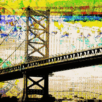 Ben Franklin Bridge Philadelphia Print by Brandi Fitzgerald