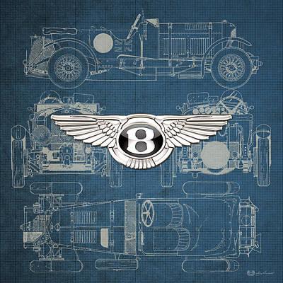 Transportation Photograph - Bentley - 3 D Badge Over 1930 Bentley 4.5 Liter Blower Vintage Blueprint by Serge Averbukh
