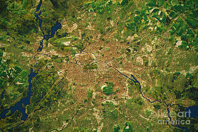 Berlin City Topographic Map Natural Color  Print by Frank Ramspott