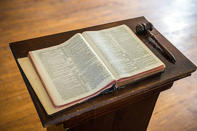 Bible And Gavel Print by Donald  Erickson