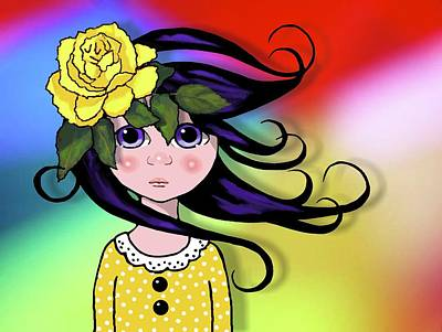 Drawing - Big Eyed Girl With Rose, Pop Art by Joyce Geleynse