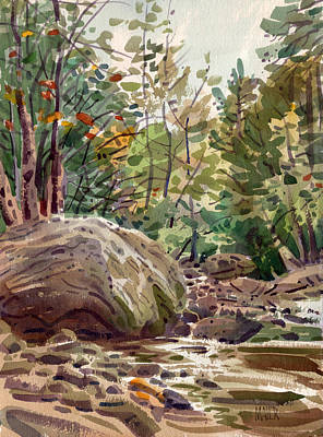 Foliage Painting - Big Rock At Sope Creek by Donald Maier