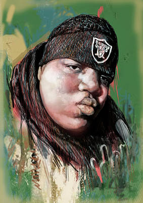 The Main Drawing - Biggie Smalls Modern Art Drawing Poster by Kim Wang