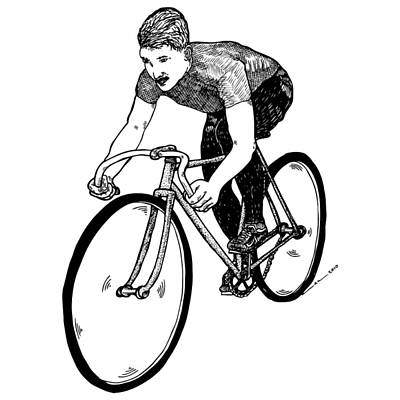 Bike Drawing - Bike Cyclist by Karl Addison