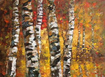 Lake Painting - Birch Trees In Golden Fall by Ylli Haruni