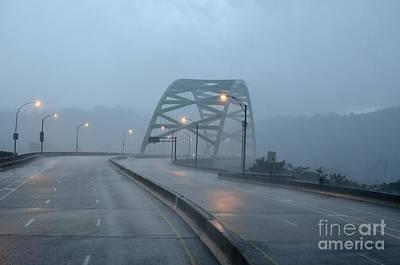Vitality Digital Art - Birmingham Bridge Downpour by Thomas R Fletcher