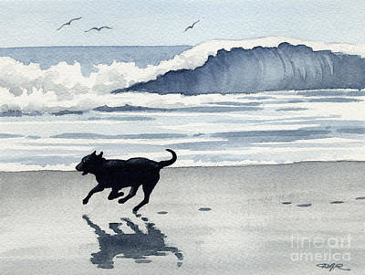 Black Lab Watercolor Painting - Black Lab At The Beach by David Rogers