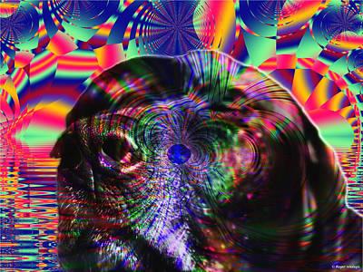 Retrievers Digital Art - Black Lab Nose by Roger Wedegis
