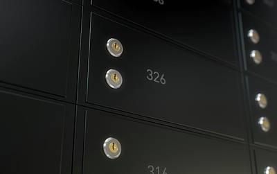 Business Digital Art - Black Safe Deposit Box Wall by Allan Swart