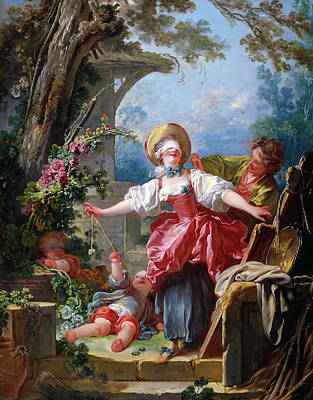 Jean-honore Fragonard Painting - Blind-man's Buff by Jean-Honore Fragonard